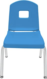 "product image for 14"" Creative Colors Split Bucket Chair in Bright Blue with Platinum Silver Frame and Self-Leveling Nickel Glide"