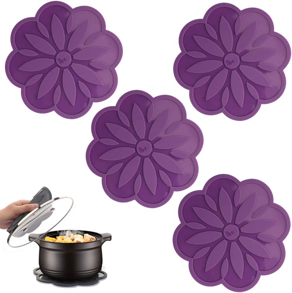 ME.FAN Silicone Trivet Mat [4 Set] Centaury Pot Holders, Hot Pads For Pots & Pans, Jar Opener, Spoon Rest & Coasters Heat Resistant Non Slip Flexible & Durable - Diameter:6.7'' (Dark Purple)