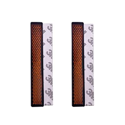 BAR Autotech 3M Stick-on Rectangular Reflectors - Safety Spoke Reflective Quick Mount Custom Accessories 3M Adhesive Reflector for Cars, Trailer, Motorcycle, Trucks, Boat, Bicycle(Amber, 2 PCS): Automotive [5Bkhe0404887]