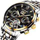 Mens Watches Luxury Fashion Automatic Date Stainless Steel Waterproof Mechanical Watch Men Casual Business Dress Gents Wrist Watch with Gold Black