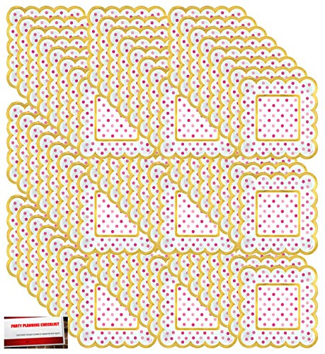 Mini Pink Polka Dot Gold Trim Scalloped Paper Plates 72 Count (Plus Party Planning Checklist by Mikes Super Store)