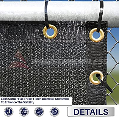Windscreen4less Heavy Duty Privacy Screen Fence in Color Solid Black 8' x 50' Brass Grommets w/3-Year Warranty 130 GSM (Customized Sizes Available)