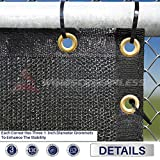 Windscreen4less Heavy Duty Privacy Screen Fence in Color Solid Black 6' x 50' Brass Grommets w/3-Year Warranty 140 GSM (Customized Sizes Available)