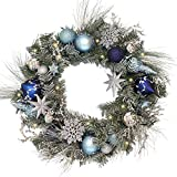 V&M VALERY MADELYN Pre-Lit 24'' Silver Blue Artificial Greenery Frosted Spruce Wreath for Home Office Wall Wedding, Shatterproof Balls included, Battery Operated 20 LED Lights with Remote and Timer