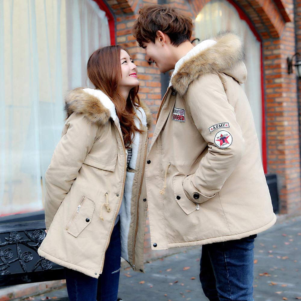 Amazon.com: Mens Womens Coat Plus Size Fur Collar Couple Cotton Pocket Long Hooded Jacket Outwear: Appliances