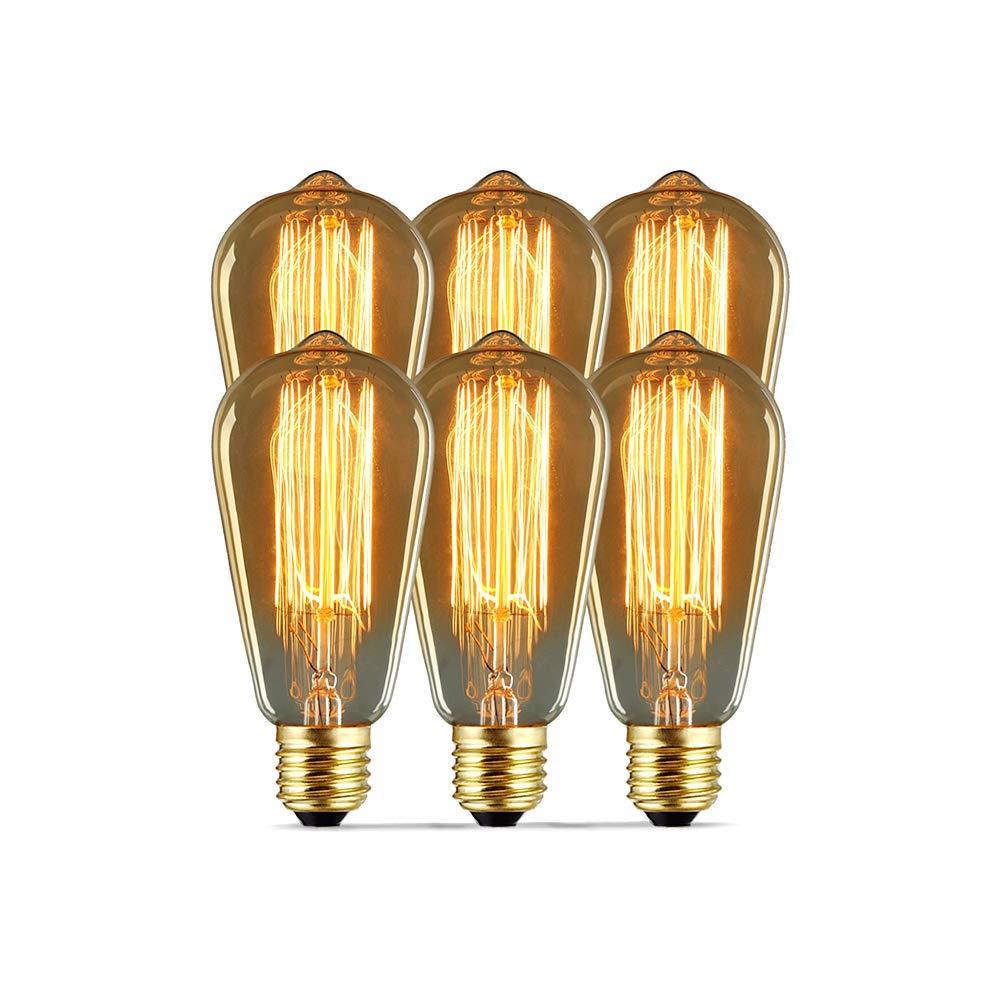 Modvera Lighting 60W Edison Light Bulb - Omni Directional Squirrel Cage  Filament Amber Glass Incandescent Lamps - Antique Vintage Old Fashion ST64  2200K ...