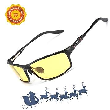 Soxick Hombre HD polarizadas Gafas de conducción Nocturna antideslumbrante Gafas de Seguridad, Negro Marco/