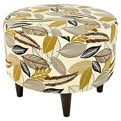 MJL Furniture Designs Sophia Collection Flora-Foliage Series Contemporary Round Ottoman, Driftwood/Brown/Tan/Black/Wooden Legs by MJL Furniture Designs