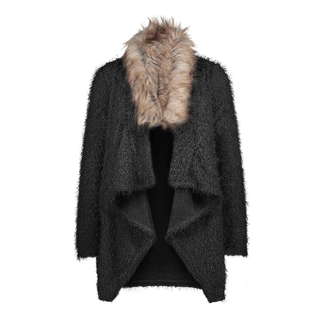 Cidere Women Casual Faux Fur Collar Asymmetrical Hem Outwear Windbreakers