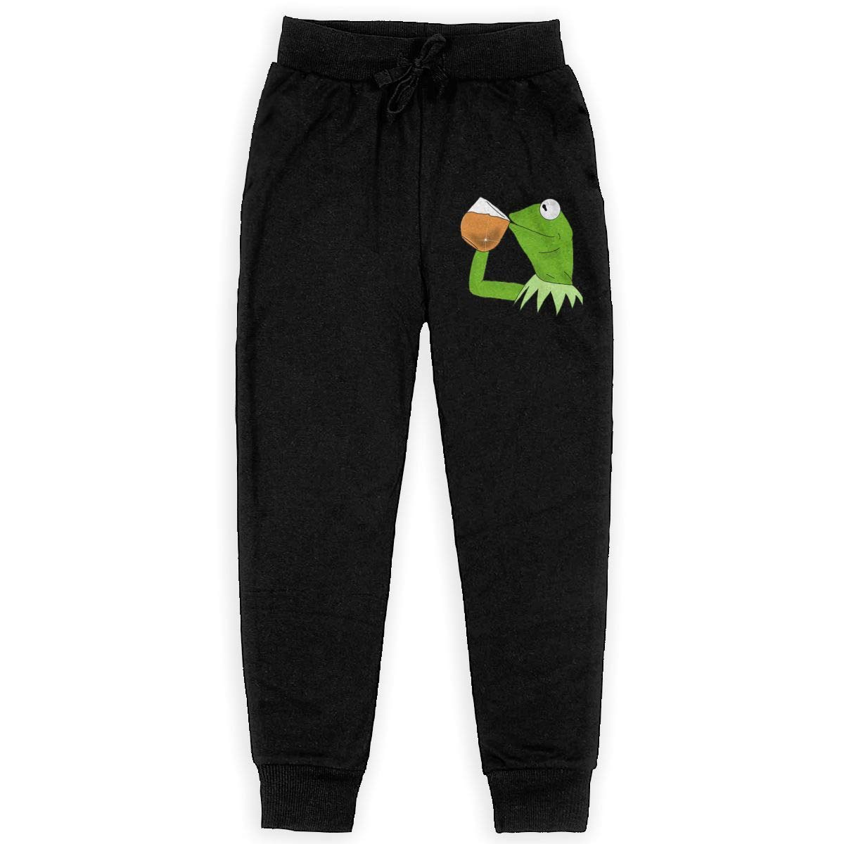 Kermit The Frog Sipping Tea Youth Classic Sweatpants Pull-on Jogger Training Pants