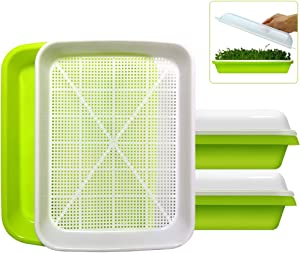 2-Pack Seed Sprouter Tray BPA Free PP Soil-Free Big Capacity Healthy Wheatgrass Grower Sprouting Container Kit with Lid (2, Green)