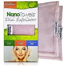 Nano Towels Skin Exfoliating Cleanser | Personal Microdermabrasion Face Wash, Pore Toner & Body Scrub Cloth | Chemical Free Dead Skin and Blackhead Remover. Korean Skin Care Secret. 2 Exfoliators
