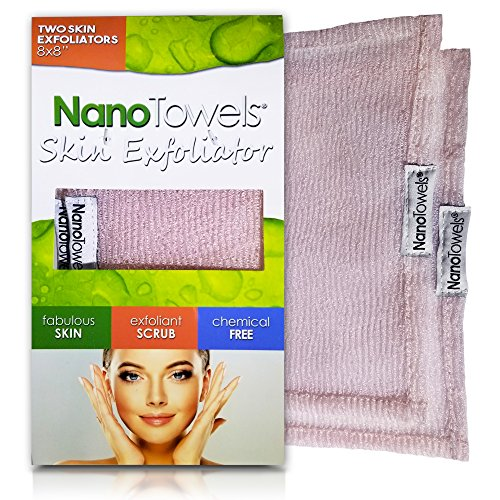 Nano Towels Skin Exfoliating Cleanser | Personal Microdermabrasion Face Wash, Pore Toner & Body Scrub Cloth | Chemical Free Dead Skin and Blackhead Remover. Korean Skin Care Secret. 2 Exfoliators from Nano Towels