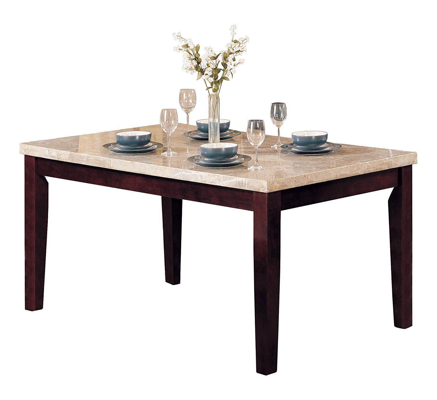 Acme Britney Walnut Dining Table With White Marble Top Buy Online In Lithuania At Lithuania Desertcart Com Productid 31105491