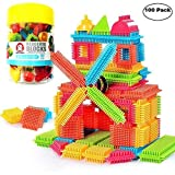 Anwish 100pcs Hedgehog Blocks Set Toddlers Educational Buliding Creative Toys with Bucket for Boys Girls