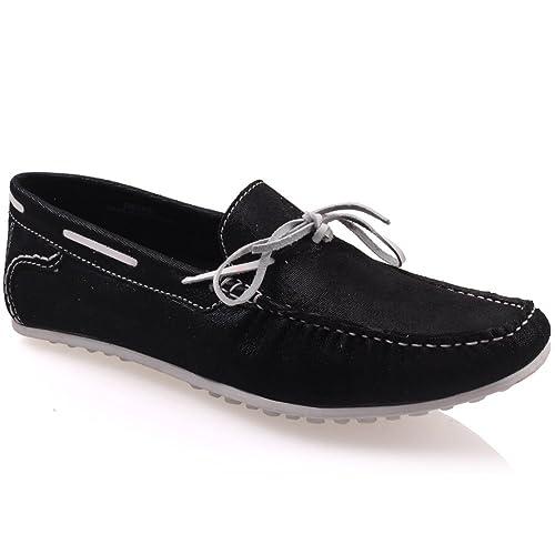 Unze Mocasines Zapatos de Cuero para Hombre Grisby