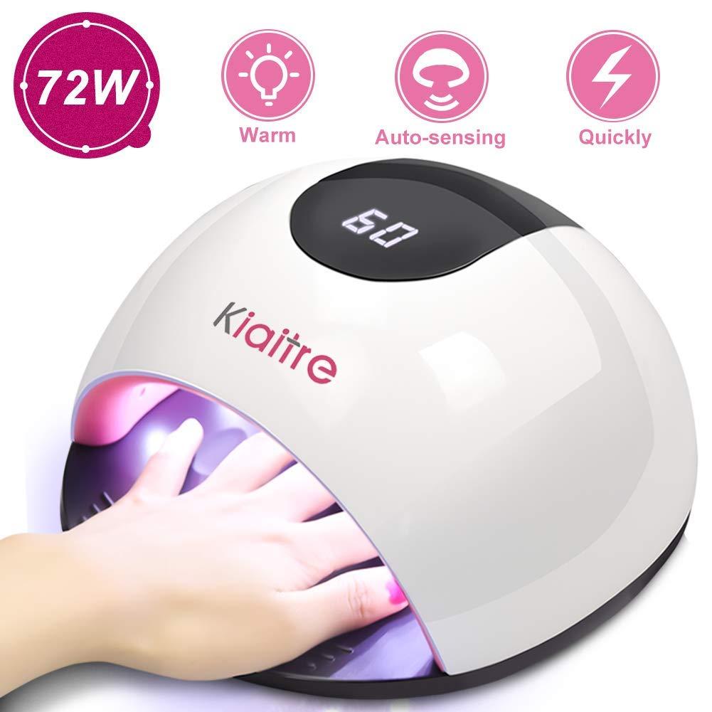 Kiaitre 72W Gel UV LED Nail Lamp - 36 Lamp Beads Nail Dryer with 4 Time Setting, Automatic Sensor UV Light for Gel Nails and Toe Nail Polish by Kiaitre