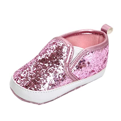 e62a7312f8e38 Amazon.com  Amiley Girls Boys Crib Shoes Soft Sole Anti-slip Baby Sneakers  glitter bling Sequins Shoes (Inches 5.1