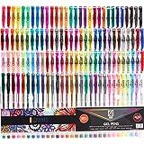 CREATE ART 120 Pack Gel Pens Set, 50% MORE INK Premium MultiColor Pens Ideal For Children and Adult Coloring Book, Scrapbooking, Arts & Crafts