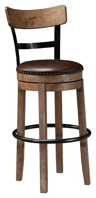 Ashley Furniture Signature Design   Pinnadel Swivel Bar Stool   Pub Height    Light Brown