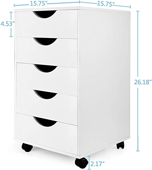 eMerit 5 Drawer Wood File Cabinet Roll Cart Drawer for Home Office Organization White