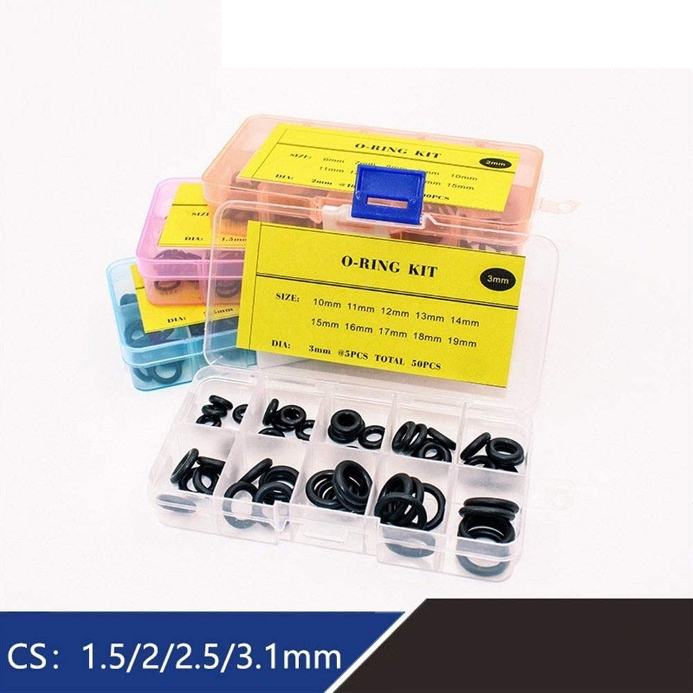 LuckyMAO O Rings Thickness 1.5//2//2.5//3//1.8//2.65mm O Rings Rubber O Ring Seal NBR Sealing O-Rings Nitrile Washer O-Ring Set Assortment Kit Set Box Color : BNB100 1.8mm