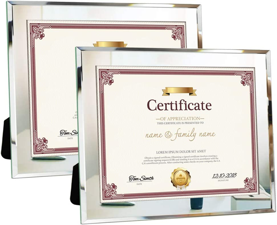 Amazing Roo 8.5x11 Document Frames 2 Pack Mirror Glass Certificate Picture Frame for Tabletop Decor