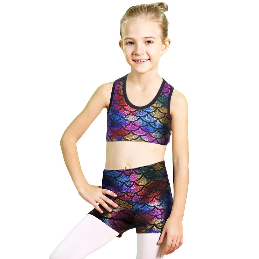 Leotard for Toddler Girls Gymnastics 2 Piece Shiny Scale Athletic Dance Wear Top & Shorts Set B177_Colorful_8A