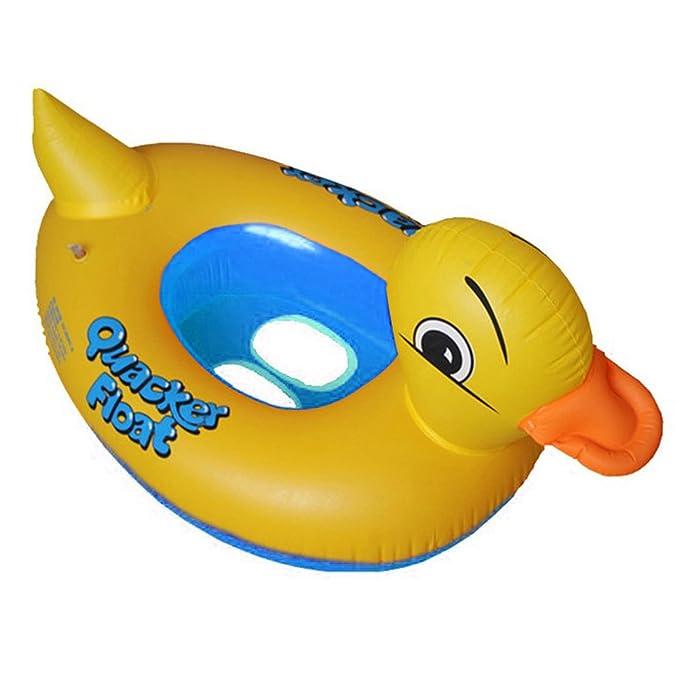 PVC Flotador Anillo de natación del Niños de dibujos animados del Pato,GZQES,Infant Natación Flotador de piscinas para bebés niños 2-6 años edad,Color Azal: ...