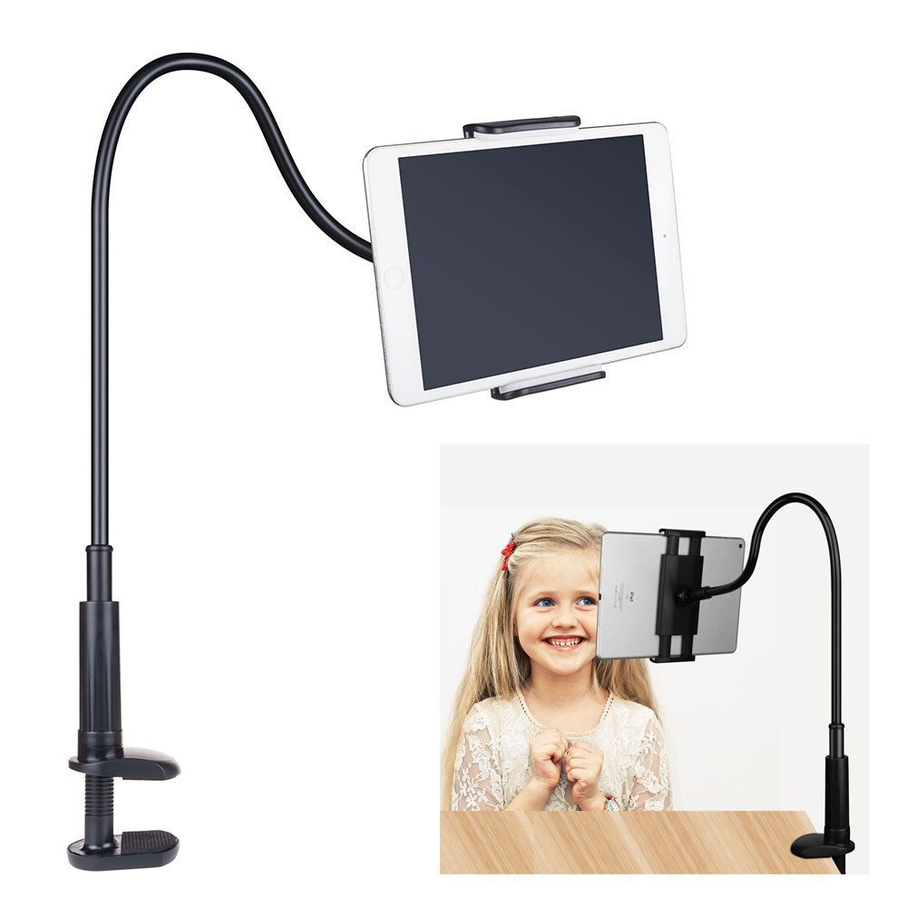 FUTESJ Gooseneck Tablet Stand, Clamp Mount Phone Holder Flexible Clip Lazy Arm Bracket Compatible for 10.5-Inch iPad Pro/iPad/Nintendo Switch/Samsung Galaxy Tabs/Amazon Kindle Fire HD(Black)
