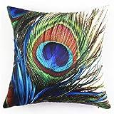 BBire Peacock Pillow Case Sofa Waist Throw Cushion Cover Home Decor