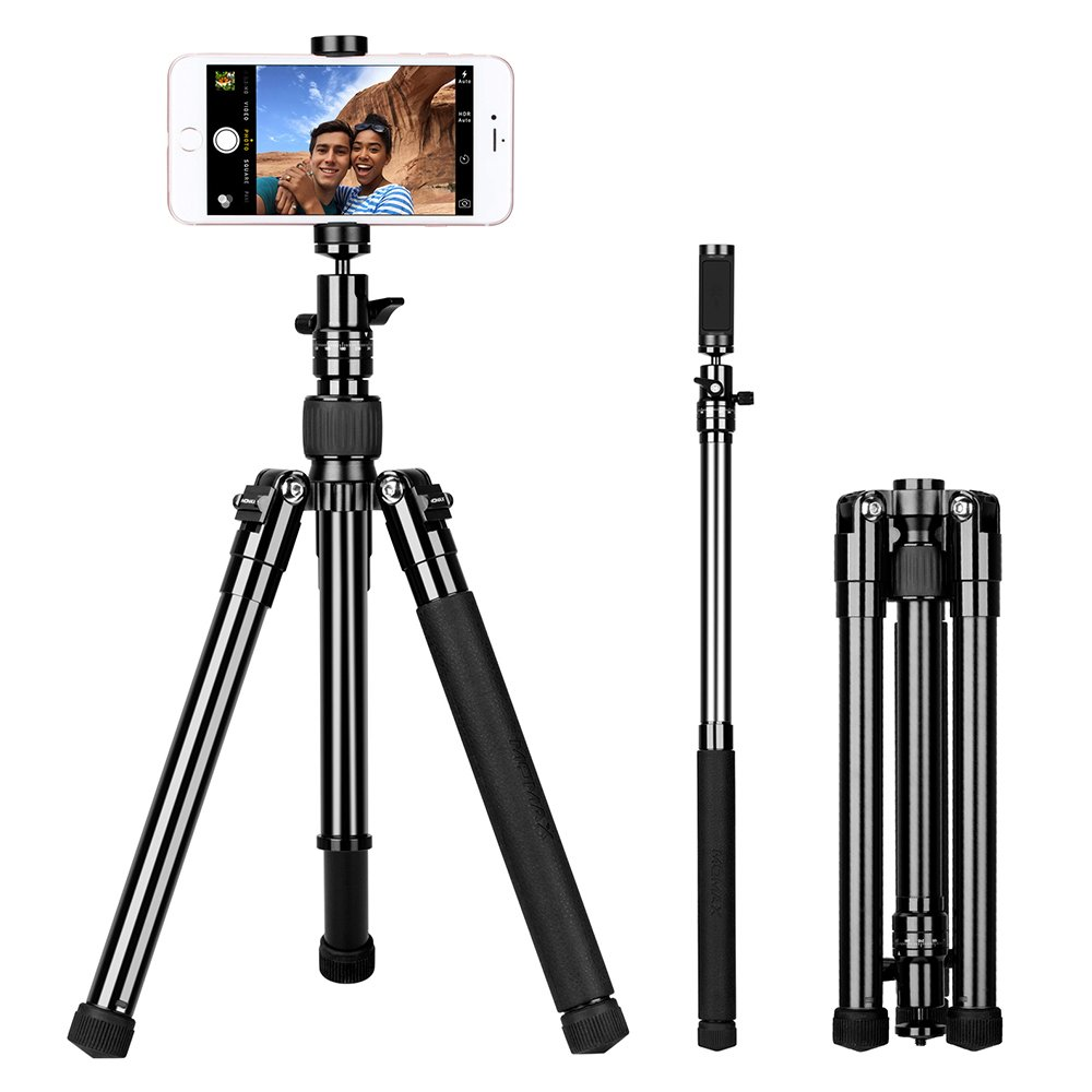 MOMAX Compact Tripod, 52 Inch 1.87lbs Lightweight Aluminum Alloy Camera Tripod Monopod Stand with Phone Grip+360 Degree Ball Head + 1/4'' Quick Release for DV Canon Nikon Sony DSLR Cameras,Black