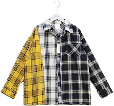 JLTPH BTS Camisetas a Cuadros Bangtan Boys Suga El Mismo Estilo Coincidencia de Colores Suelto Casual Camisas Cardigan Tops Blusa con Botón: Amazon.es: Ropa y accesorios