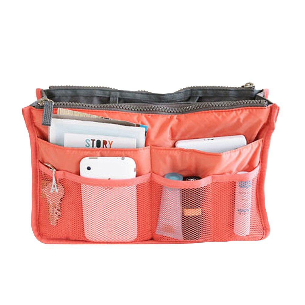 1Pc Multi Portable Double Zipper Storage Bag Makeup Organiser Handbag Bag in Bag Travel Organizer Coral Zhi Jin