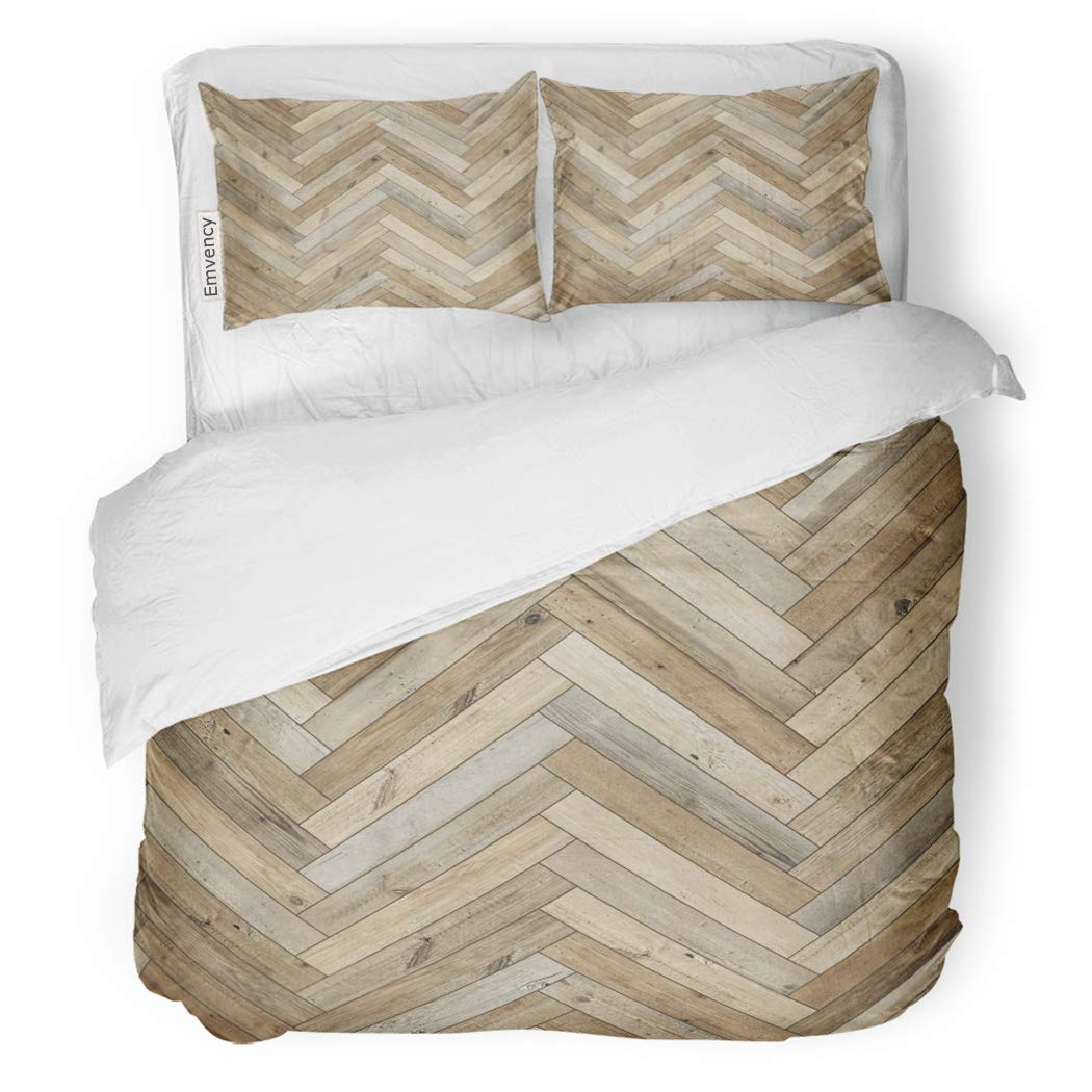 SanChic Duvet Cover Set Beige Chevron Wood Parquet Herringbone Old Arrow Ash Decorative Bedding Set with 2 Pillow Shams King Size