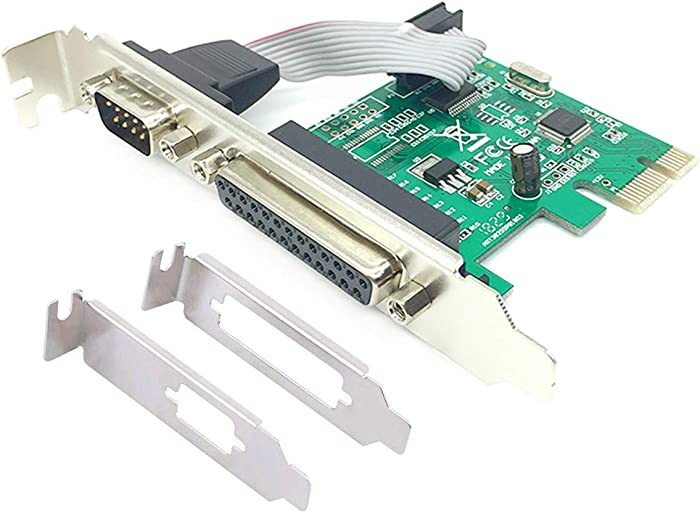 PCIe Combo Serial Parallel Expansion Card PCI Express to Printer LPT Port RS232 Com Port Adapter IEEE 1284 Controller Card WCH382 Chip for Desktop PC Windows 10 with Low Bracket