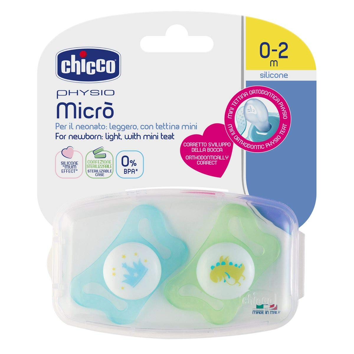 Amazon.com: Chicco Physio Soother Boy Micro 0-2Mesi 2units: Health ...