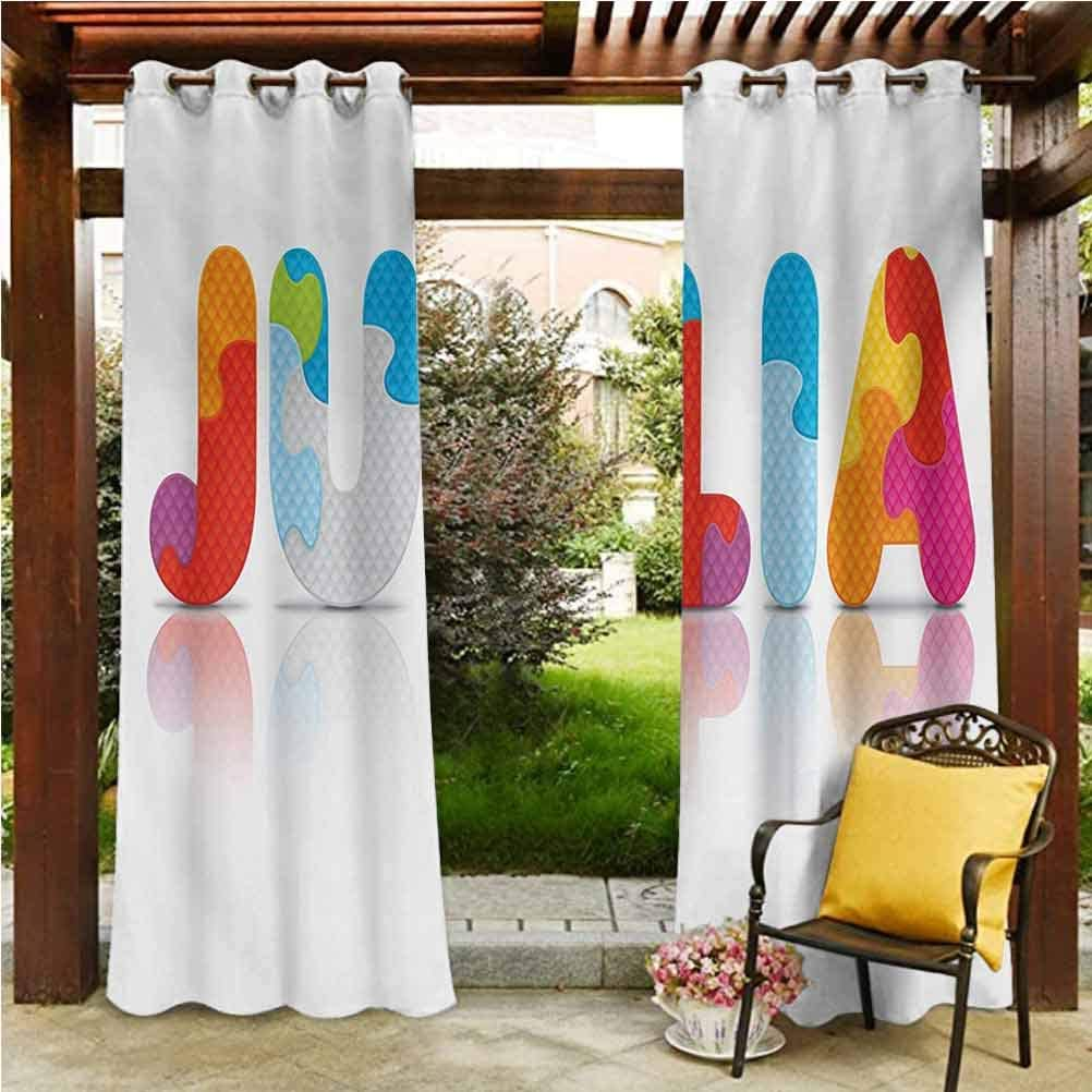 """ScottDecor Julia Shade Screen Gazebo Garden Furniture House Puzzle Style Colorful Letters Preschool Theme Girl Name with Roman Mythology Roots Multicolor 108"""" W by 108"""" L(K274cm x G274cm)"""