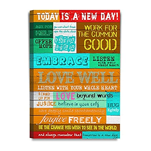 Canvas with quotes amazon decorarts today is a new day inspirational quotes wall art giclee print stretched canvas 20x30 x 15 solutioingenieria Gallery