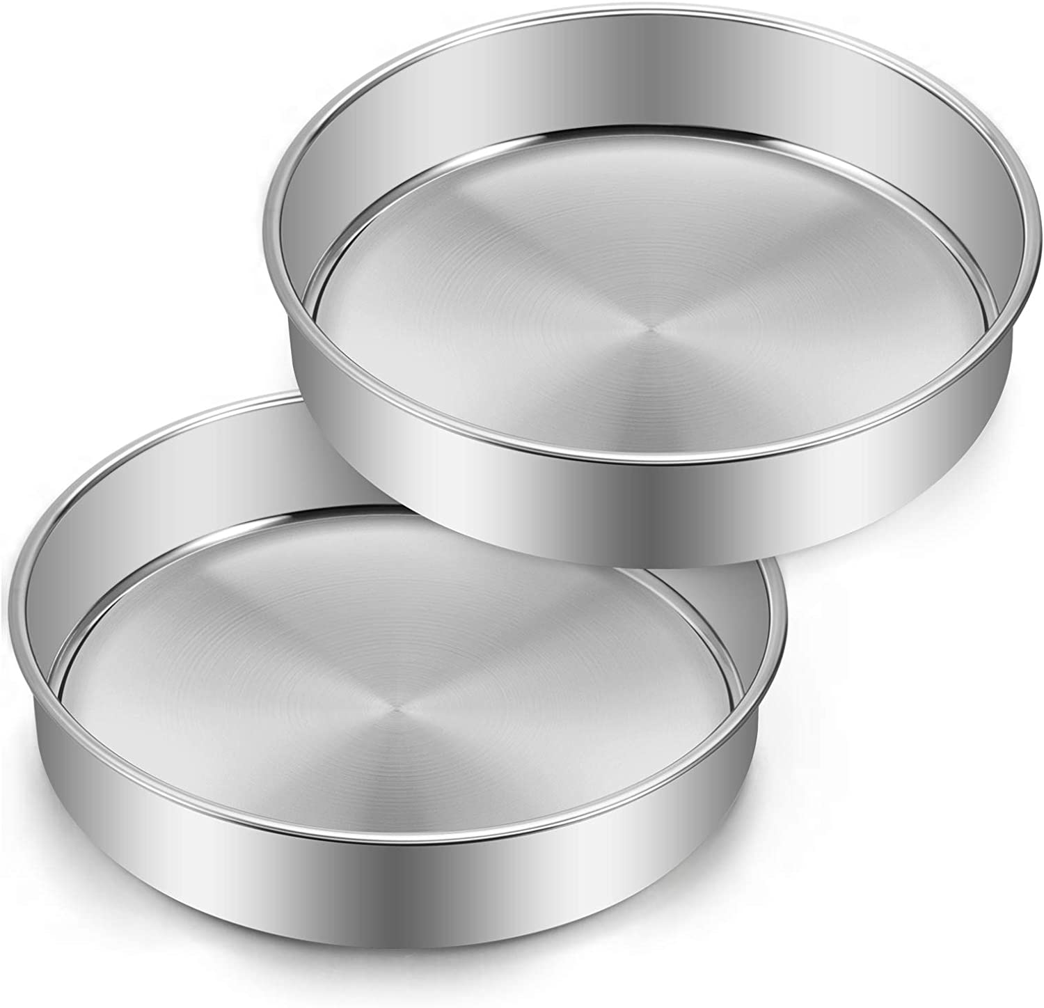9½ Inch Cake Pan Set of 2, Deedro Stainless Steel Round Cake Pans Tier Baking Pans, Fit in Pot Pressure Cooker Air Fryer, One-piece Molding, Heavy Duty, Mirror Finish & Dishwasher Safe