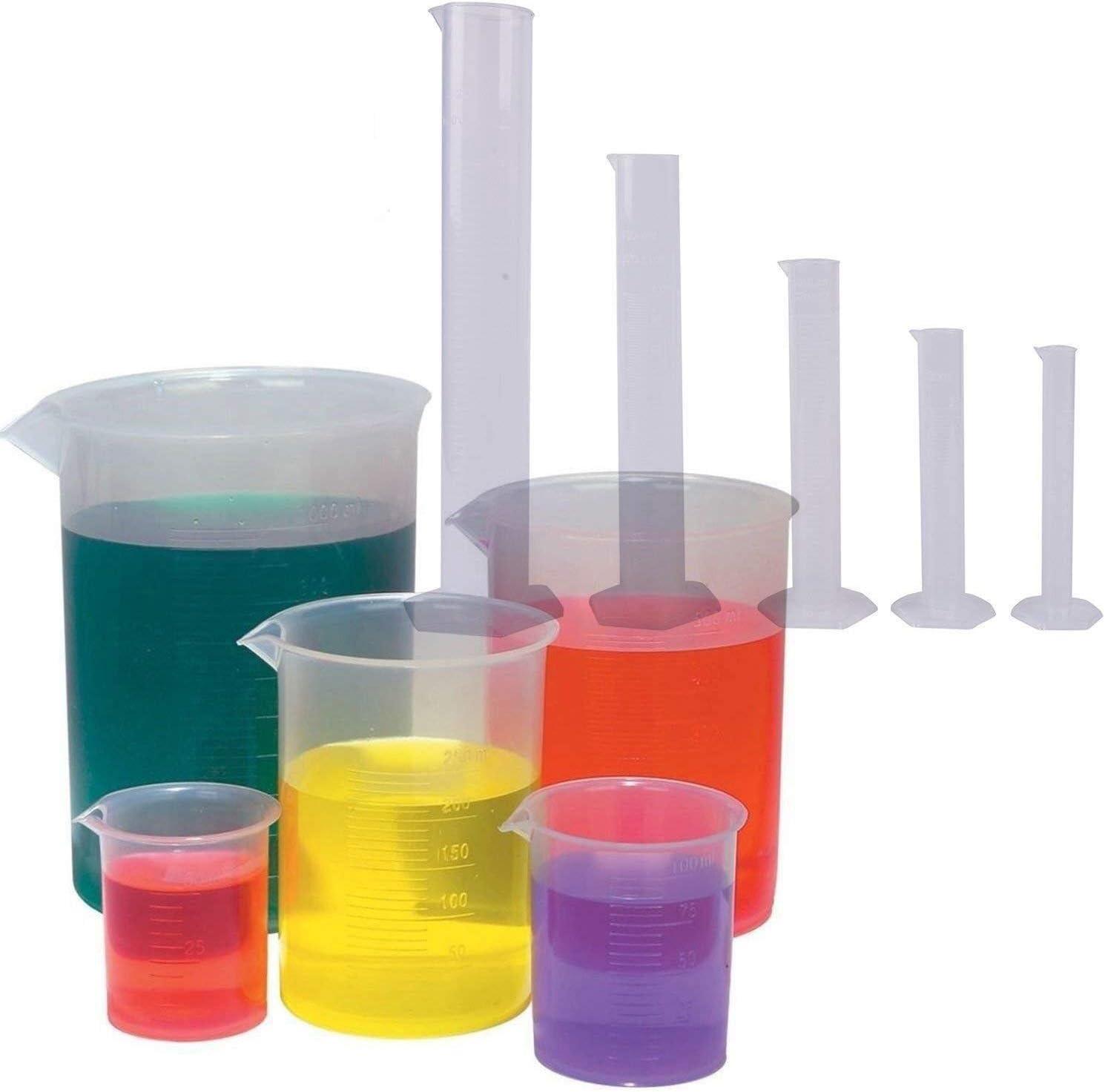 Copa liquida Cilindros graduados de plástico transparente de 5 tamaños (10 25 50 100 250 ml) Juego de vasos de plástico de 5 paquetes: 50, 100, 250, 500, 1000ML Contenedor de plástico