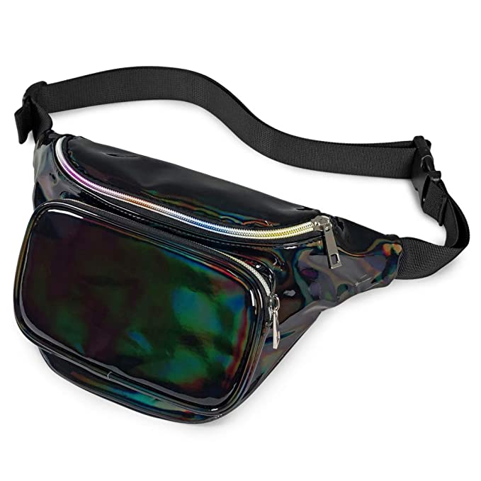 26a9446cc985 Cambond Holographic Fanny Pack for Women and Man, Shiny Neon Waist Bag for  Rave, Festival, Travel, Party, Fashion Bum Bag with Adjustable Belt