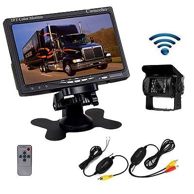 "Camecho RC 12V 24V Car Backup Camera Rear View Wireless IR Night Vision Backup Camera Waterproof Kit + 7"" TFT LCD Monitor Parking Assistance System for Truck/Van/Caravan/Trailers/Camper"
