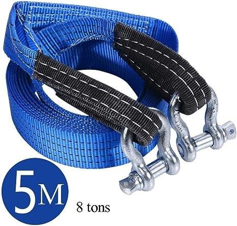 Cuerda de remolque de coche Cable de remolque de recuperaci/ón de carretera con ganchos de tira reflectantes 8 toneladas 5 metros Cuerda de remolque 5meter//16.4ft