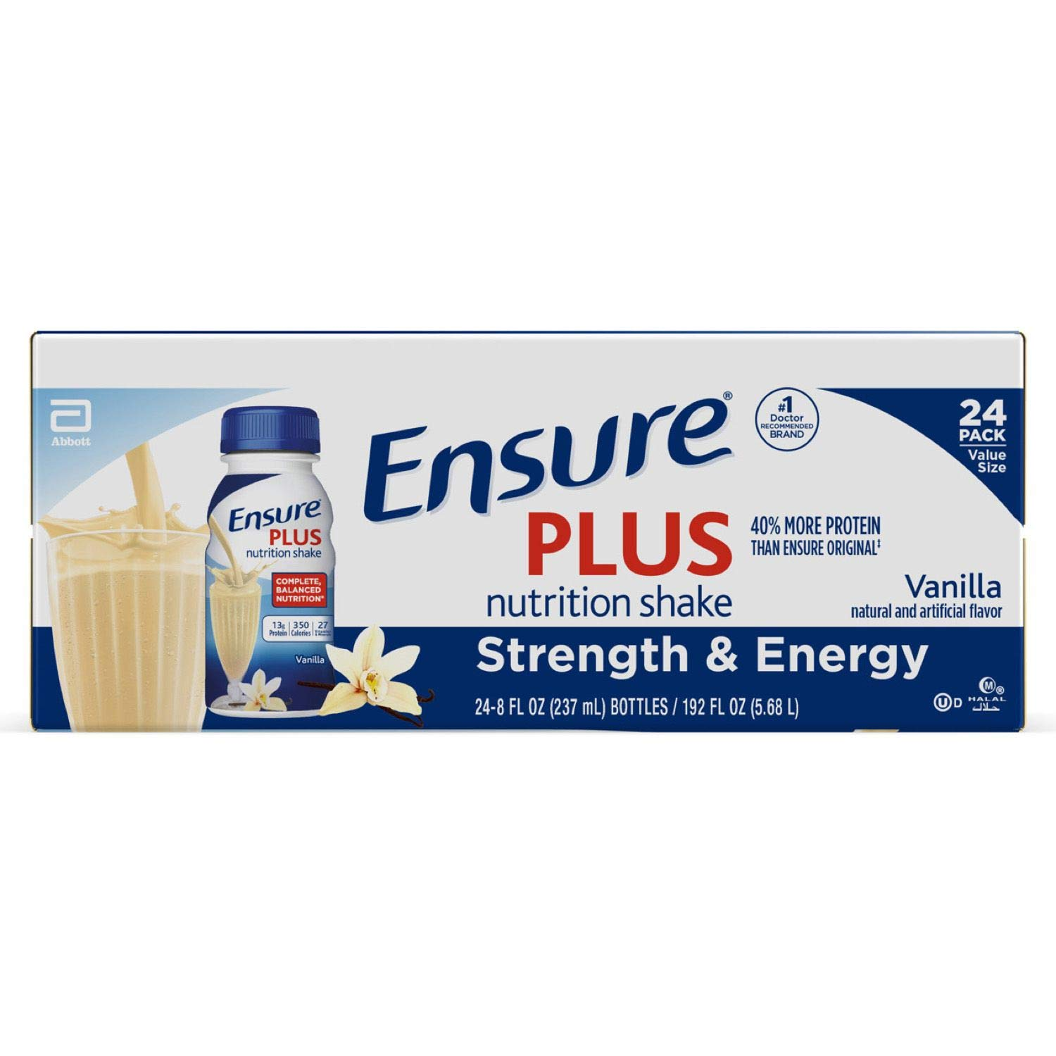 Ensure Plus Therapeutic Nutrition, Vanilla - 8 Oz Containers- Case of 24 by Abbott