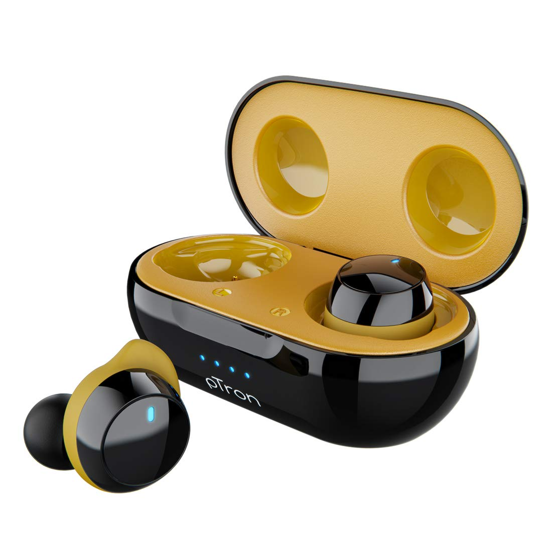 pTron Bassbuds Elite True Wireless Headphones (TWS), Bluetooth 5.0, Hi-Fi Sound with Bass, Auto Pairing, Passive Noise Cancellation, Voice Assistance, 12Hrs Playtime with Case & Mic - (Black & Yellow)