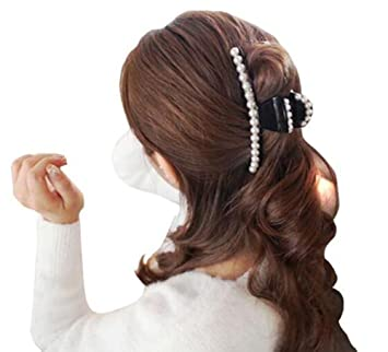 Amazon Com 1pcs Black Pearl Claw Clips Hairpin Hair Accessories