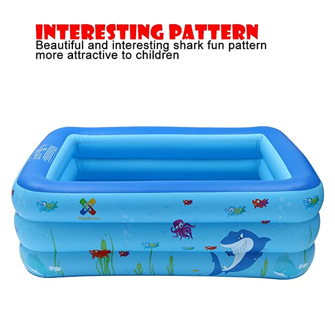Amazon.com: Kiddie Pool, piscina hinchable rectangular para ...