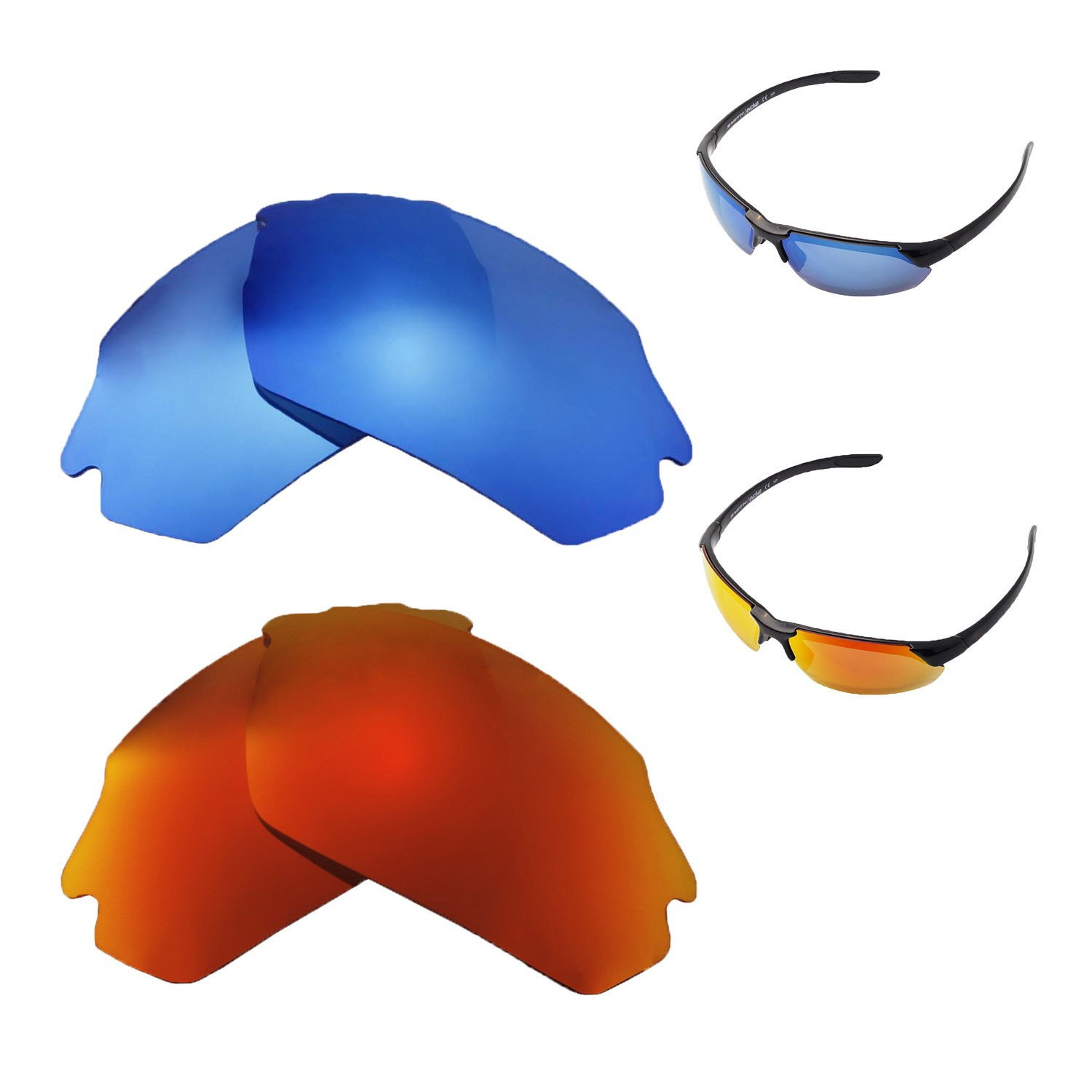 e033db99a7 Amazon.com  Walleva Polarized Fire Red + Ice Blue Replacement Lenses For Smith  Parallel Max Sunglasses  Clothing