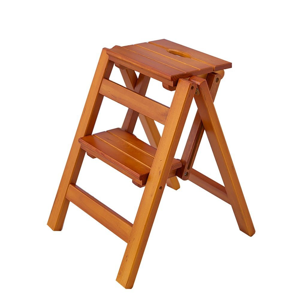 Brown 2 steps NYDZDM Ladder Stool Wooden Folding Stepladder Step Stool for Adults & Kids Kitchen Ladders Small Foot Stools Portable shoes Bench Flower Rack (color   White, Size   2 Steps)